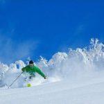 ニセコヴィレッジでパウダーを楽しむスキーヤー